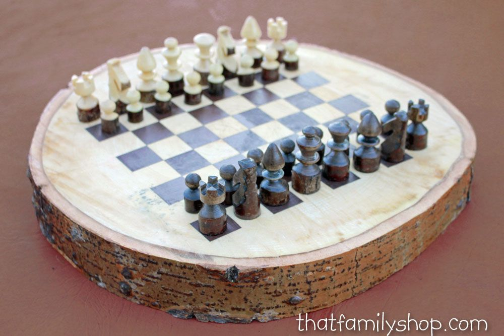 Buy A Custom Made Rustic Wood Log Chess Set Made To Order
