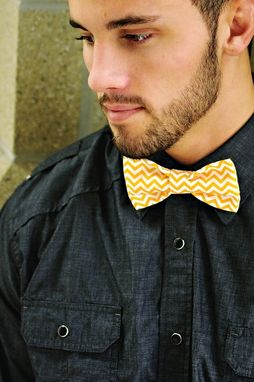 Custom Made Orange And White Chevron Bow Tie