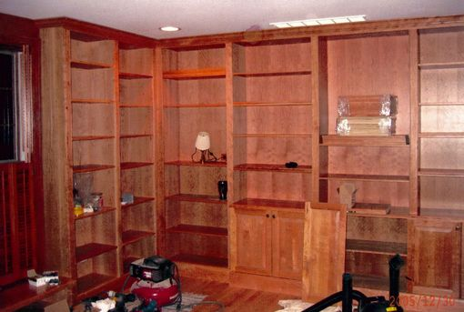 Custom Made Library, Solid Cherry, W/Desk, & Storage Buffet, Full Rm Built-In