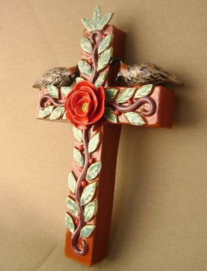 Custom Made Quail's On A Cross With A Rose, Ceramic And 3 Dimensional
