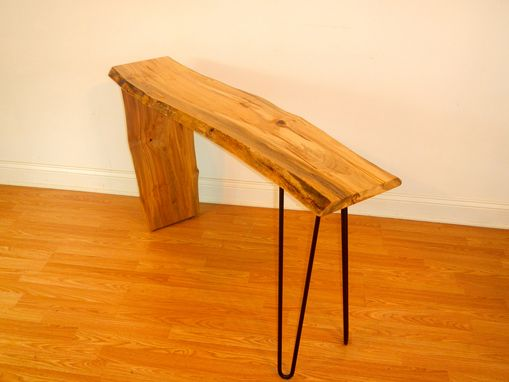 Custom Made Free Form Edge Console / Sofa Table / Live Edge / Mid Century Modern / Hairpin Legs