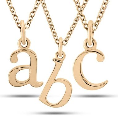 Custom Made Lower-Case Block Letter Single Initial Pendant Necklace
