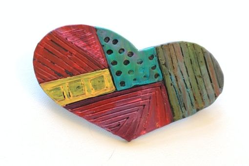 Custom Made Barrette, Hair Clip, Hand Painted Heart Barrette, Polymer Clay And Paint Rub-Off