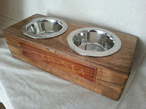 Custom Made Wine Crate Pet Bowl- Authentic Insignia