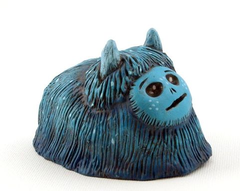 Custom Made Polymer Clay Monster Figurine Teal Blue Art Object Creature