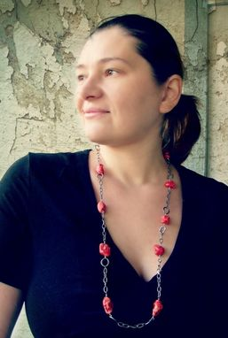 Custom Made Long Chain Necklace With Red Magnesite