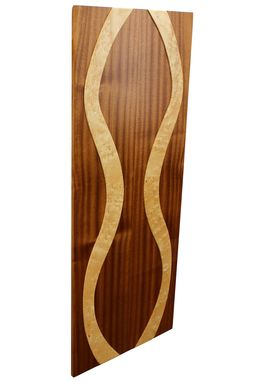 Custom Made Elegant Woman Floating Wall Panel | Solid Birdseye Maple And African Mahogany