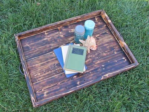 Custom Made Wood Ottoman Tray Made From Reclaimed Pallet Wood Serving Tray