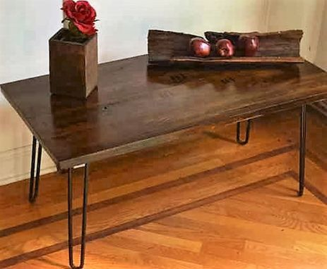 Custom Made Reclaimed Oak Wood Coffee Table With Hairpin Legs