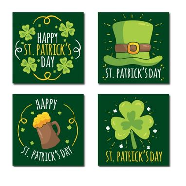 Custom Made Happy St. Patrick'S Day Canvas Wall Art Set Of 4