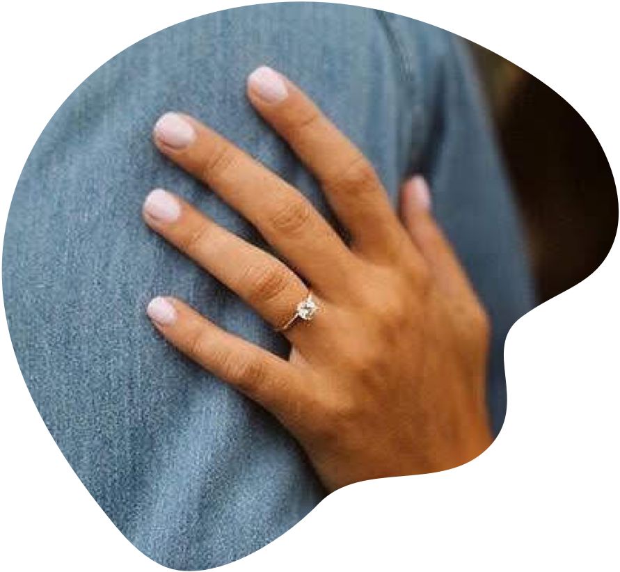 Solitaire diamond engagement ring on a woman's hand