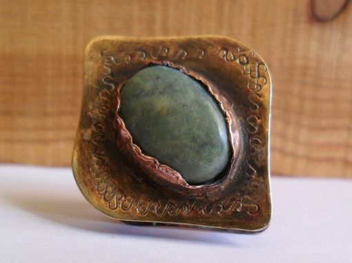 Custom Made Brass And Copper Ring With Green Agate Stone