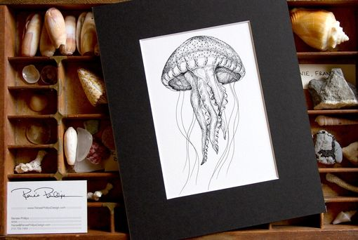 Custom Made Jellyfish Stippling Illustration - Cabinet Of Curiosities Collection