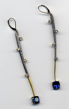 Custom Made Custom Sapphire And Gold Earrings