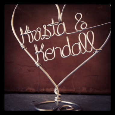 Custom Made Custom Wire Heart Wedding Cake Topper Personalized For Bride And Groom