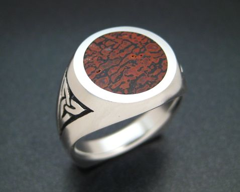 Custom Made Celtic Men'S Ring With Fossilized Dinosaur Bone