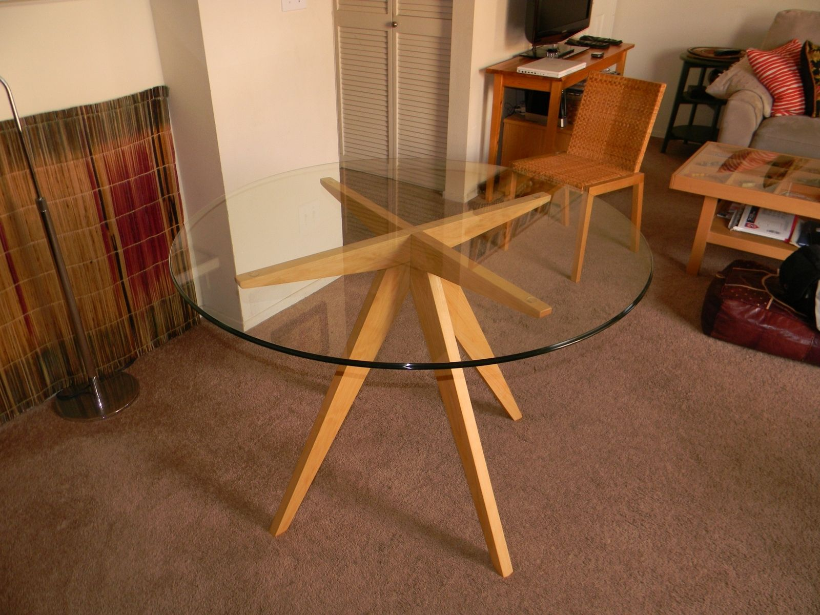 Hand Made Ibis Table Base For Glass Top Dining Table By Antikea - Round kitchen table with glass top