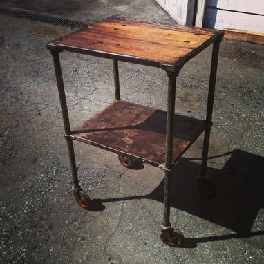 Custom Made Vintage Industrial Bar Cart With Mahogany Top