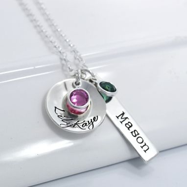 Custom Made Personalized Mother's Necklace Disc And Bar
