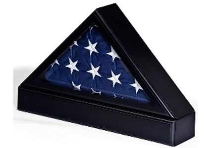 Custom Made Flag Case With Base For Tabletop Or Wall Mounting - Black