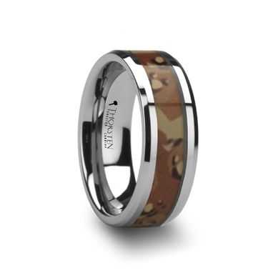 Custom Made Crusader Tungsten Wedding Ring With Military Style Desert Camo Inlay - 8mm