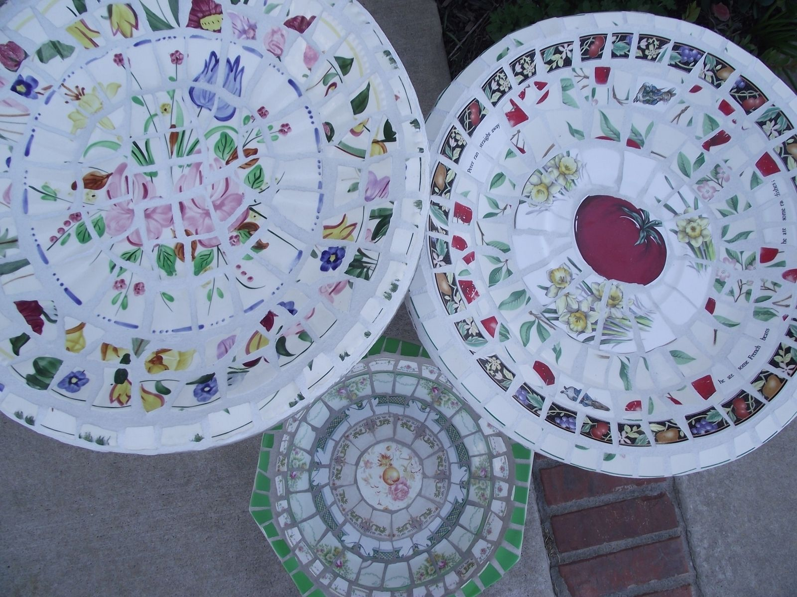 Custom Made Mosaic Concrete Bird Bath By Vintage Butterfly