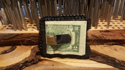 Custom Made Black Caiman Card Case/Money Clip, Hand Laced, Made In The Usa
