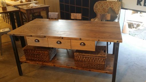 Custom Made Reclaimed Oak Kitchen Island