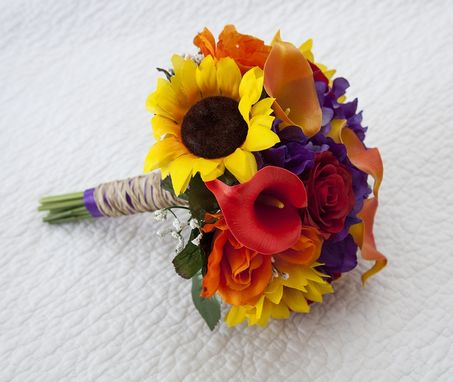 Custom Made Sunflowers, Real Touch Roses And Calla Lilies Autumn Bouquet Perfect For Fall Weddings