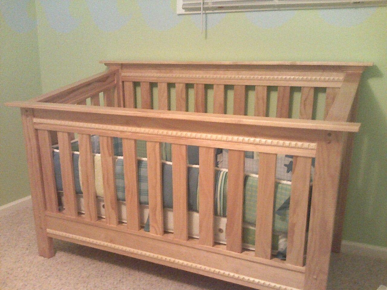 Custom Made Pine Baby Crib By Hughes Woodworking