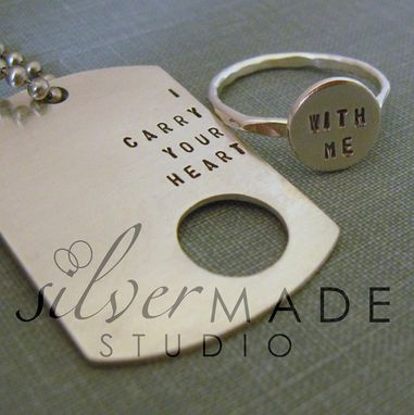 Custom Made I Carry Your Heart Dog Tag And Sterling Silver Ring. Intertwine