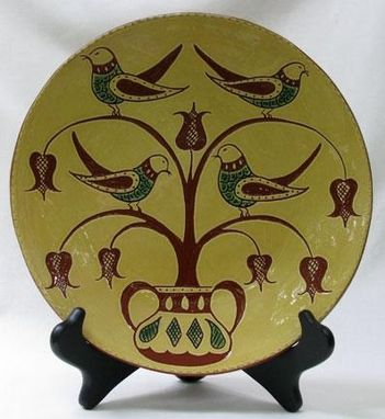 Custom Made Ceramic Plate, Four Calling Birds