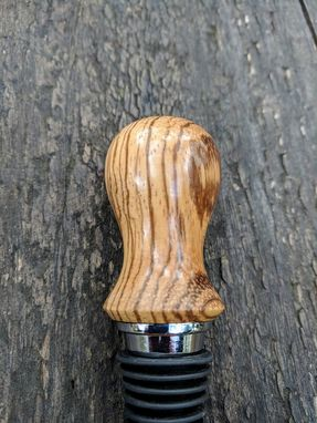 Custom Made Wine Bottle Stopper - Zebra Wood Bottle Stopper