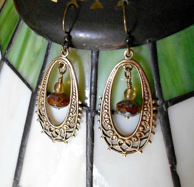 Custom Made Sold Out Earrings Vingtage Fancy Brass Oval Stampings With Czech Glass Dangles
