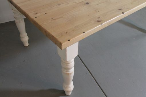 Custom Made Old Oak Farm Table With White Legs