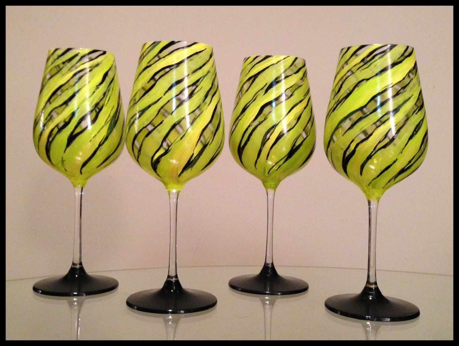 Hand Crafted Hand Painted Wine Glasses. Bright Spring Zebra Design ...