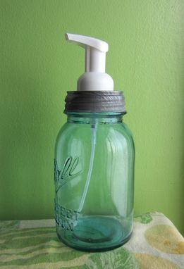 Custom Made Upcycled Blue Ball Mason Quart Jar Foaming Soap Dispenser