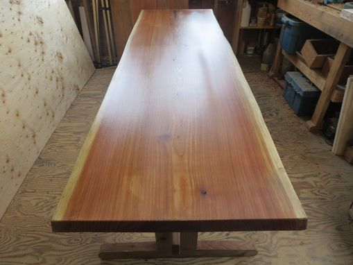 Custom Made Cedar Slab Trestle Table