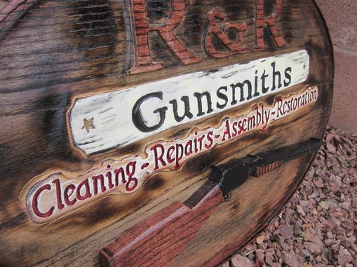 Custom Made Gun Shop Hand Carved Sign