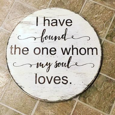 Custom Made Round Wooden Song Of Solomon Love Sign
