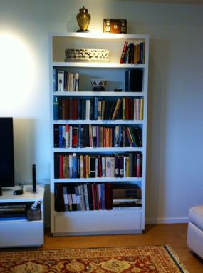 Custom Made Modern Style Painted Bookcase With Flip Down Door