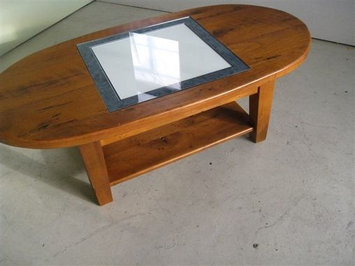 Custom Made Oval Coffee Table With Game Board Inlay