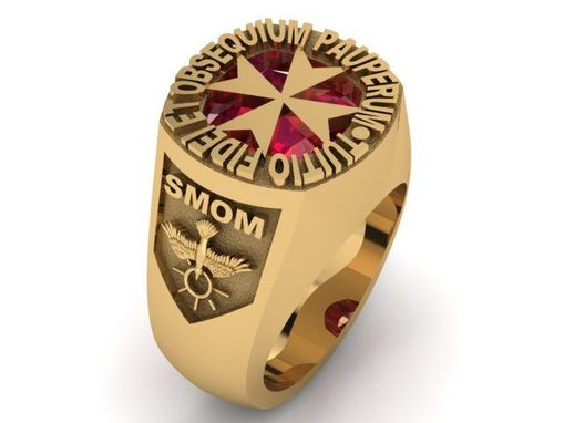 Custom Made Sovereign Military Order Of Malta Custom Signet Ring In 14k Yellow Gold With 12 Mm Natural Garnet