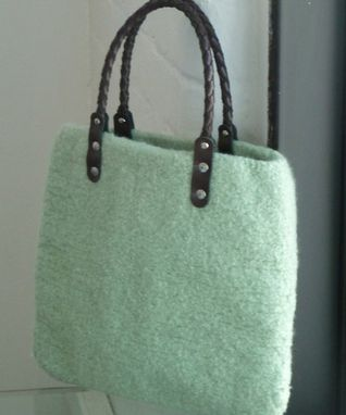 Custom Made New For Spring. Mint Tote With Braided Leather Handles