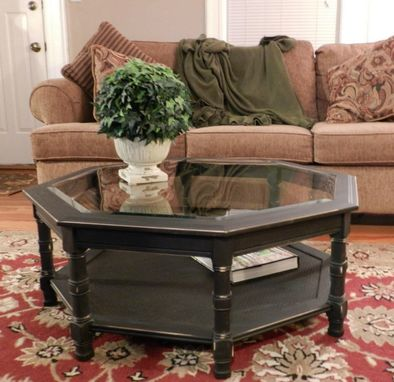 Custom Made Refinished Black Coffee Table With Removable Glass Center.