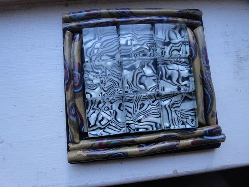 Custom Made Coasters, Mosaic Black/White Glass, Polymer Clay, Black Art Tile