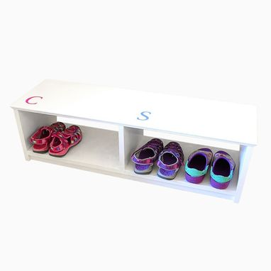 Custom Made Eco-Friendly Painted Entryway Shoe Rack Bench