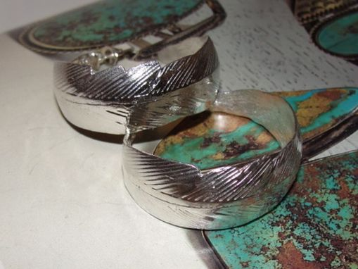 Custom Made Sterling Silver Native American Inspired Feather Hoop Pierced Earring