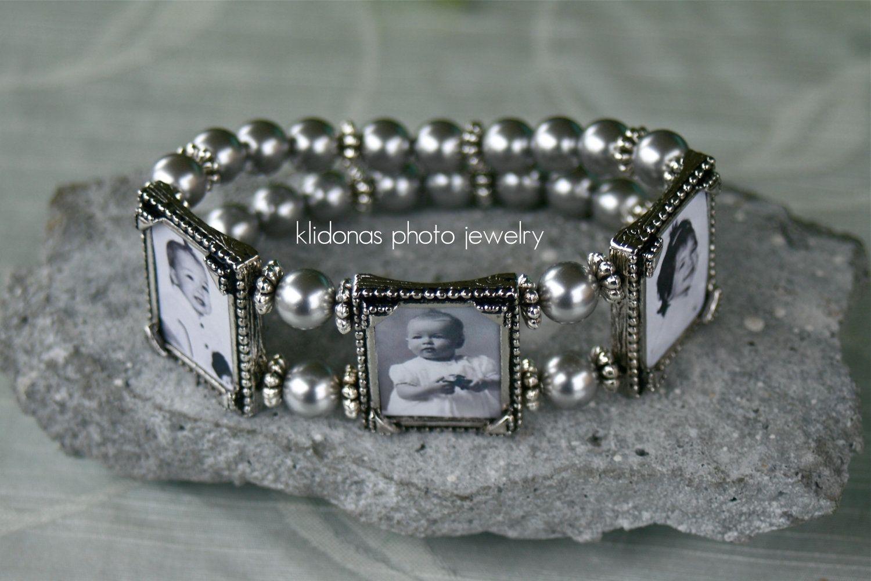 Custom Made Photo Bracelet, Photo Charm Bracelet, Gift For Mom Or Grandma,  Family