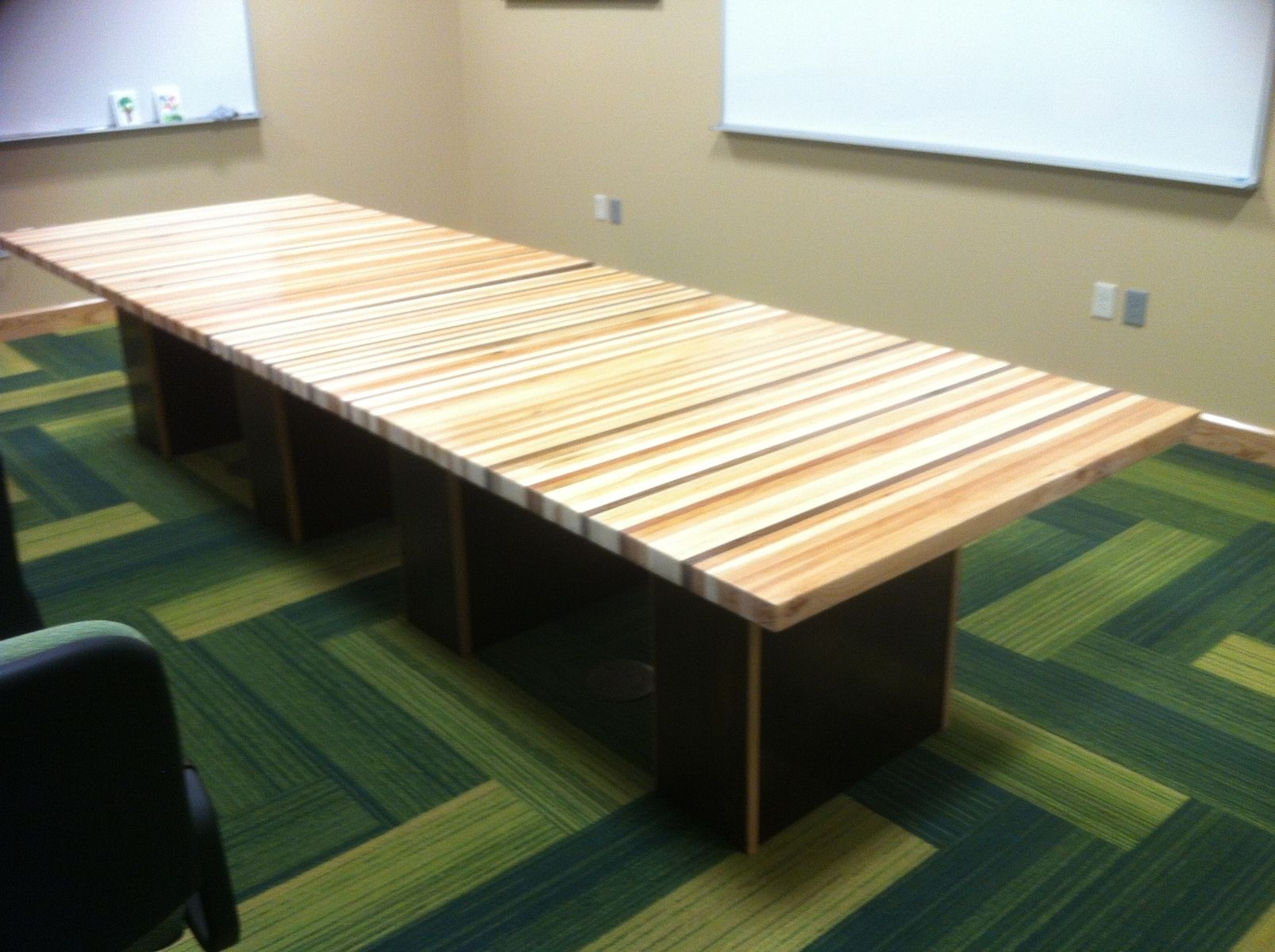 Hand Crafted Laminated Wood Conference Table With Multiple